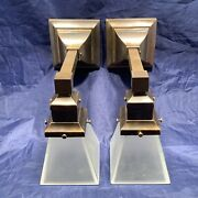 Rewired Pair Dark Brass Arts And Crafts Mission Sconces Square Shades 76c