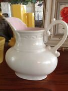 Vintage Red Wing Pottery Pitcher Cream W/soft Pink Interior 737