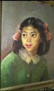 George Chann Exceptional Portrait Chinese Girl Listed Chinese American Artist