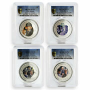 Cook Islands Set Of 4 Coins Sherlock Holmes Pl-70 Pcgs Silver Coin 2007