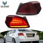 Red Led Sequential Taillight Rear Light Assembly For 2015-2020 Subaru Wrx / Sti