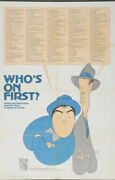 Vtg Still In Packaging Abbott And Costello Whos On First Poster 1973 30x45