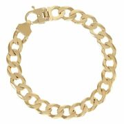 9ct Gold Heavy Bevelled Edge Curb Bracelet 11mm - 9 Rrp Andpound1570 Bi2_9_a ...