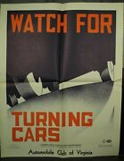 Automobile Club Of Virginia Vintage Old School Traffic Safety Poster Turning Car