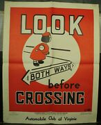 Automobile Club Of Virginia Vintage Old School Traffic Safety Poster Look Both