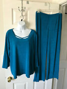 Chicos Travelers Ring Detail Top Pants Mercer Blue Size 3 New