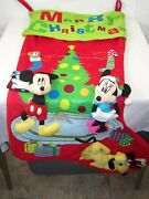 Merry Christmas Huge Stocking Micky Mouse Mini Mouse Pluto Disney's 4 X 2 Feet