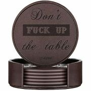 Thipoten Funny Coasters Leather With Holder Protect Furniture From Water Marks