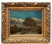 19th Century French Oil Painting Animated Landscape At The River Barbizon Dupre