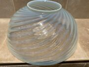 Blue Opalescent Swirl Hanging Parlor Lamp Shade- Matching Font
