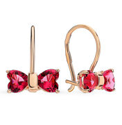 Earrings Russian Gold Kids Solid Rose Gold 14k 585 Bow Childrens Fine Jewelry