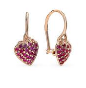 Earrings Russian Gold Kids Solid Rose Gold 14k 585 Berry Childrens Fine Jewelry