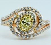 18k Rose Gold Fancy Yellow Oval Cut Diamond With Round White Diamonds Ring