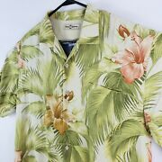 Tommy Bahama Menand039s Hawaiian Shirt 100 Silk Brown Fern Floral Sort Sleeve Large
