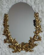 Syroco Wood Wall Hanging Oval Mirror Gold Hollywood Regency Victorian Roses