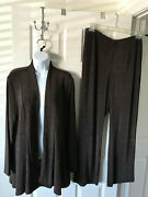Chicos Travelers High Low Jacket Pants Double Espresso Brown Size 3 New