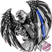 Thin Blue Line Law Enforcement American Flag Eagle Decal Large 24