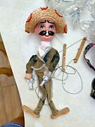 Vintage Mexican Marionette Puppet With Gun Pistols Mexico Cowboy Puppets