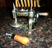 Old Stitchwell Cast Iron Toy Sewing Machine And A Lock Stitch Sewing Awl 1920's