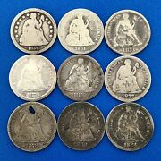 1856 Mixed Date Lot Nine Seated Liberty Silver Dime Better Philadelphia Coins