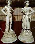 Rare Vintage Large Table Lamps Statues Chalkware Women And Man Victorian Antique