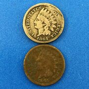 1864 P Indian Head One Cent Penny Type 2 Type 3 Bronze Philadelphia Two Coin Lot
