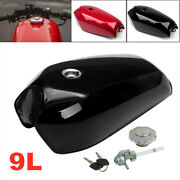 9l/2.4 Gallon Universal Motorcycle Bike Cafe Vintage Fuel Gas Tank And Cap Switch