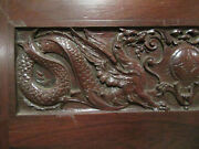 Antique Rosewood Door With Carved Dragons 34 X 80 Architectural Salvage