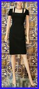 New Versace Black Stretch Coctail Dress With Gold -tone Back Zipper 38 - 4