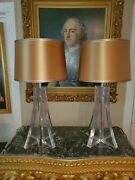 Pair Of 1960s Thick Xxl Lucite Eiffel Tower-esque Lamps Custom Fabric Shades