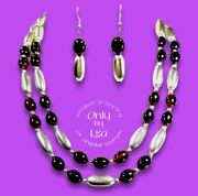 Root Beer Bakelite And Aluminum Double Strand Necklace With Matching Earrings