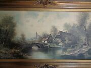 Old Mill Large Signed Painting Artist Acrylic 48x28 Bridge River Vintage