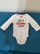 Carters Baby Girl My First Best Christmas White One Piece Red Trim Size 3 Months