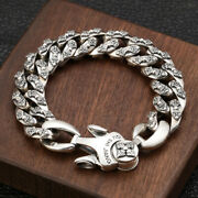 Menand039s Real Solid 925 Sterling Silver Bracelets Braided Vajra Cross 7.9 8.7