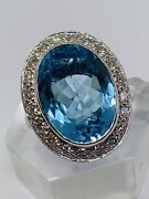 Fine Quality Large 18ct White Gold 10 Carat Blue Topaz And Diamonds Cluster Ring