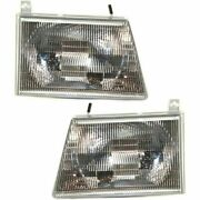 New Set Of 2 Lh And Rh Headlight For Ford Van E350 E150 E250 1992-2007