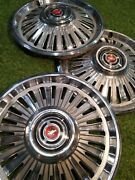 3 Vintage 1963 Chevy 14 Hubcaps Wheel Covers - Red Center Chevy Bowtie