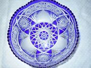 Fab Vintage Large Signed Meissen Cobalt Blue Cut To Clear Crystal Glass Bowl