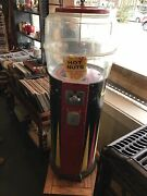 """Vintage Rare Hot Nuts Machine 10 Cent Dime Oak Mfg Repair Or Parts Large 42""""tall"""