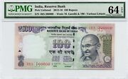 Tt 2012-16 India 100 Rupees Super Special S/n 200000 With 1rs Block Pmg 64epq
