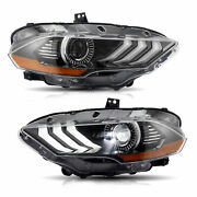 Led Headlight Dual Beam Headlamps Left And Right For 2018 2019 2020 Ford Mustang
