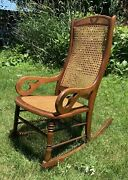 1865 Walnut Antique Empire Furniture Lincoln Sewing Rocker Caned Rocking Chair
