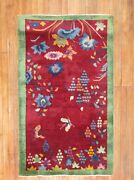 Antique Chinese Art Deco Rug Size 3and0391and039and039x4and03911and039and039
