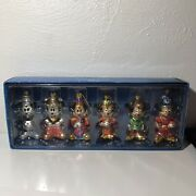 6 Disney Mickey Through The Years Glass Christmas Ornaments In Original Box