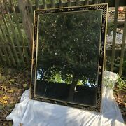Vintage Large La Barge Mirror With Hand Painted Black Lacquer Frame Chinoiserie
