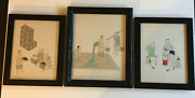 3 Antique Qing Chinese Ink Watercolor Pith Paintings Tea Packaging Comical Nice