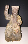 Antique Chinese Wood Carving Temple Shrine Figure, Polychrome, Qing Beauty
