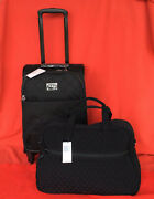 Vera Bradley 22 Spinner Carry-on And Medium Travel Bag Luggage 2 Pc Black Quilted