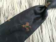 Vintage Polo By Navy Flying Pheasant Print Woven Silk Necktie