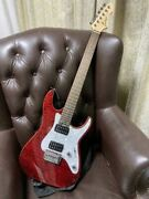Rare Grass Roots See Thru Quilt Red Electric Guitar Japan Shipped